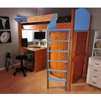 Stompa Combo Kids Natural Highsleeper Bed in Blue with Desk and Wardrobe