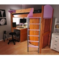 Stompa Combo Kids Natural Highsleeper Bed in Lilac with Desk and Wardrobe