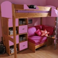 Stompa Combo Kids Natural Highsleeper Bed in Lilac with Sofa Bed and Double Storage