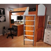 Stompa Combo Kids Natural Highsleeper Bed in White with Desk and Wardrobe