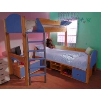 Stompa Combo Kids Natural Storage Bunk Bed in Blue