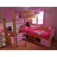 Stompa Combo Kids Natural Storage Bunk Bed in Lilac